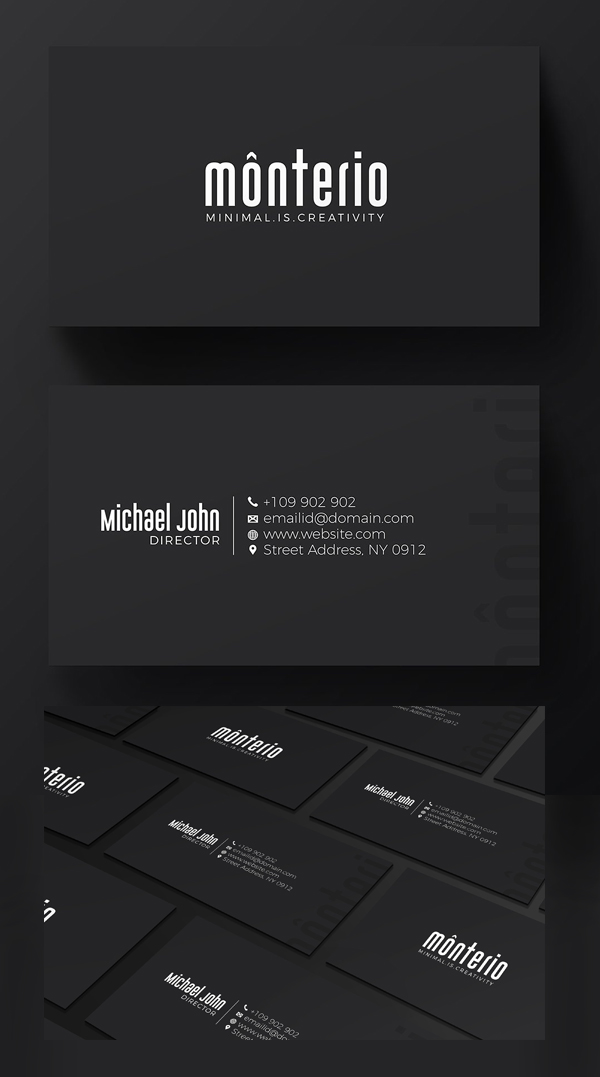 Minimal Black Business Card