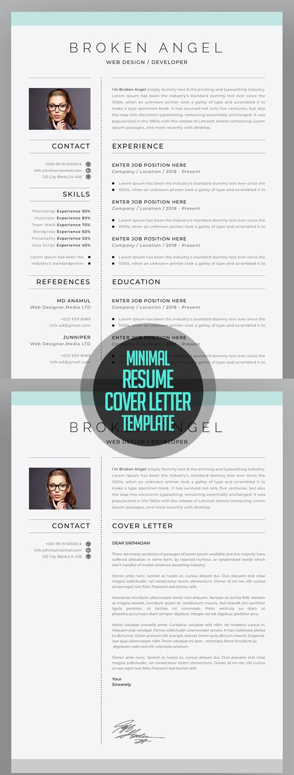 Minimal Resume + Cover Letter for 2018