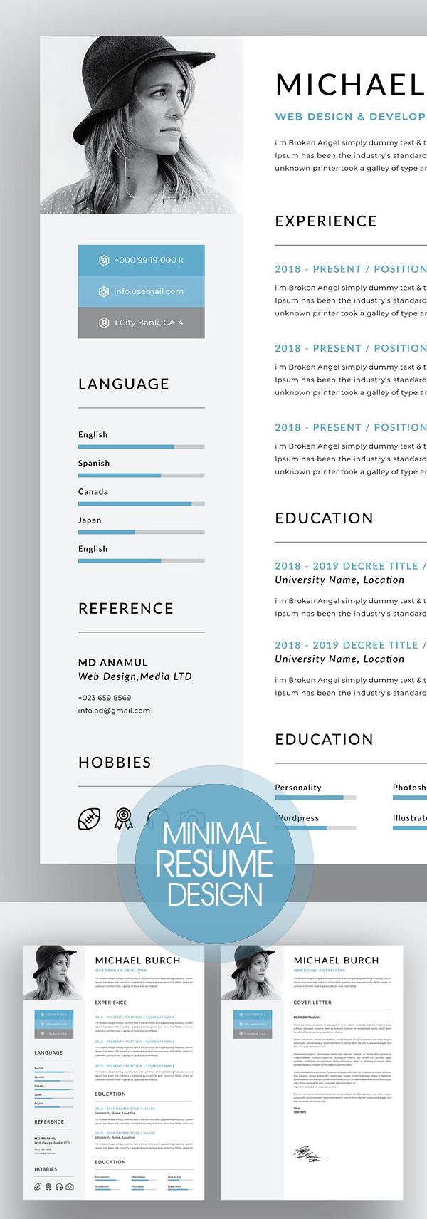 Creative Minimal Resume Design 2018