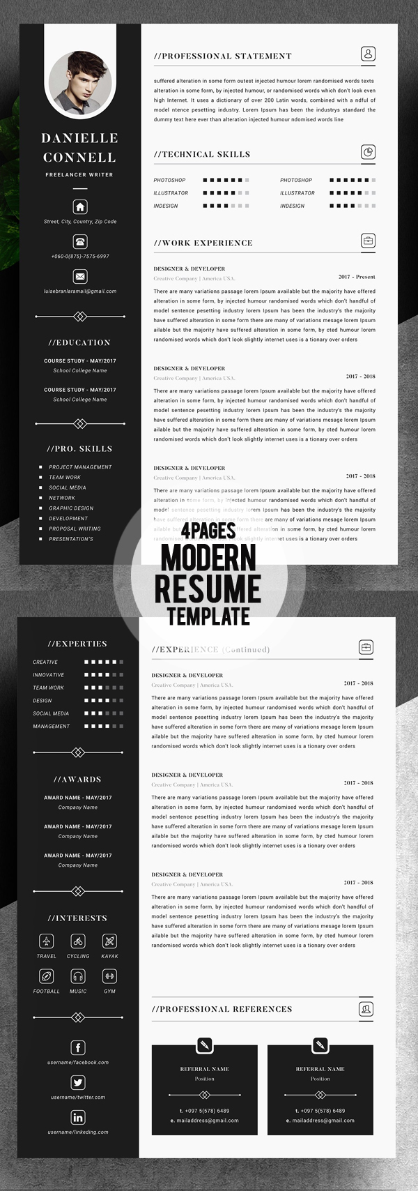 Modern Resume Template 2018 (4 Pages)