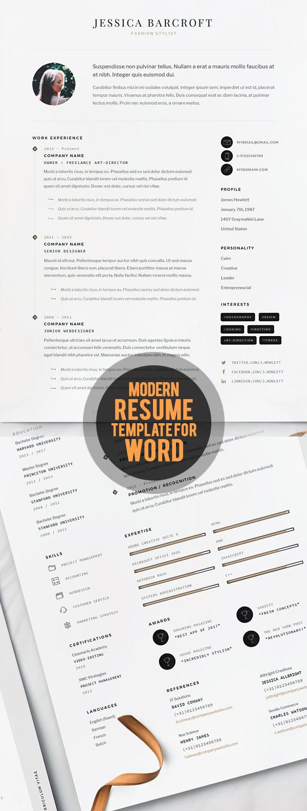 Modern Resume CV Template for Word