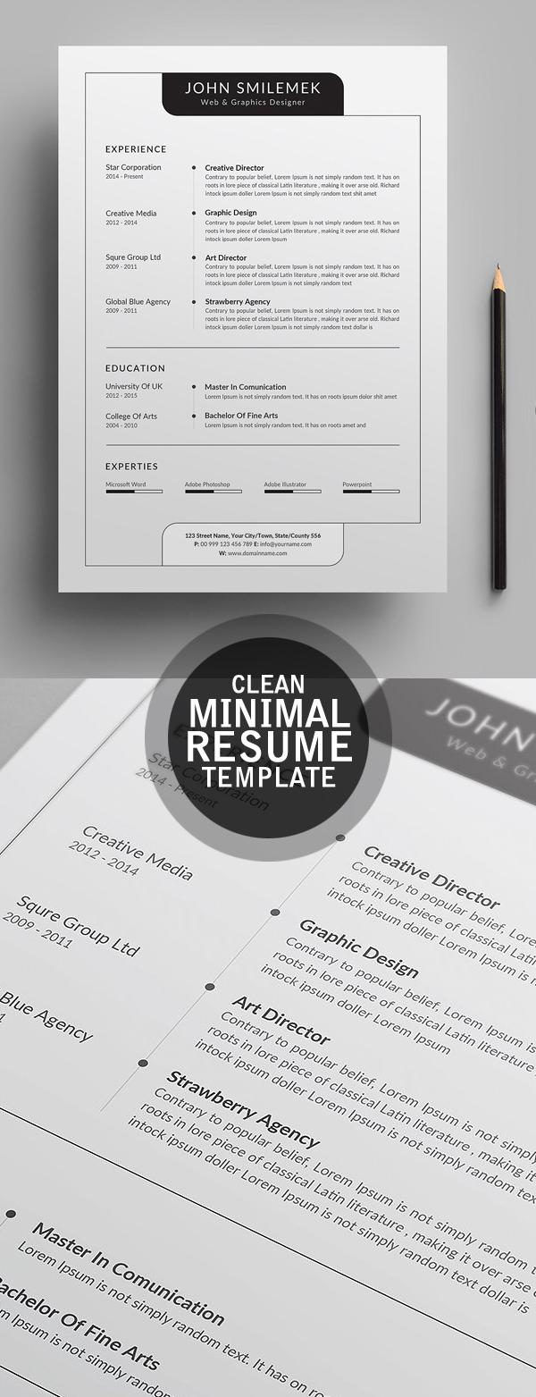 Clearn Minimal CV / Resume Template 2018