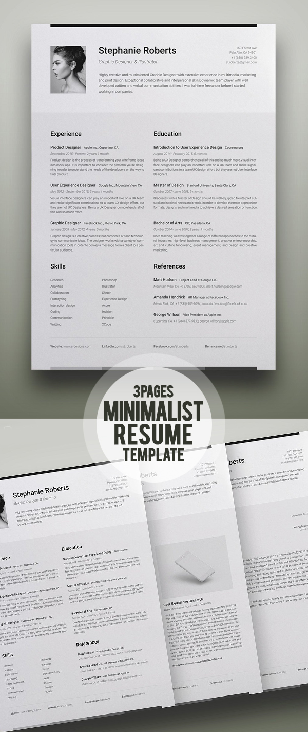 Professional Resume Template 2018 (3 Pages Resume)