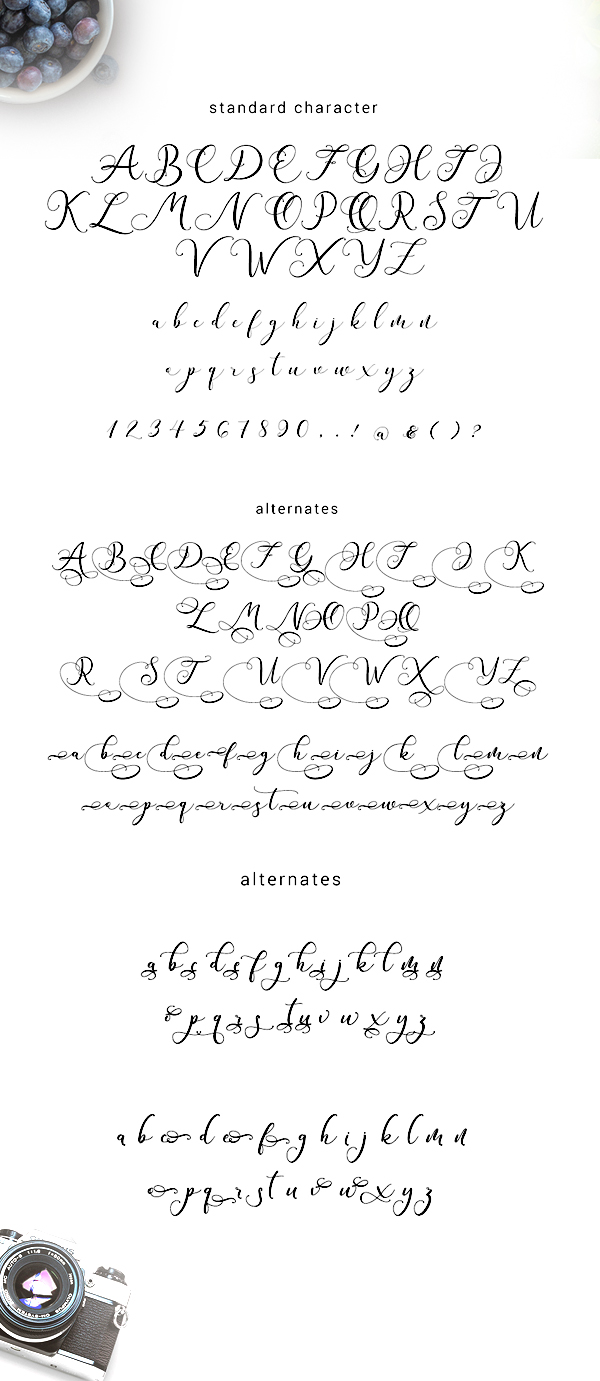 Andieny Script Font Letters and Numbers
