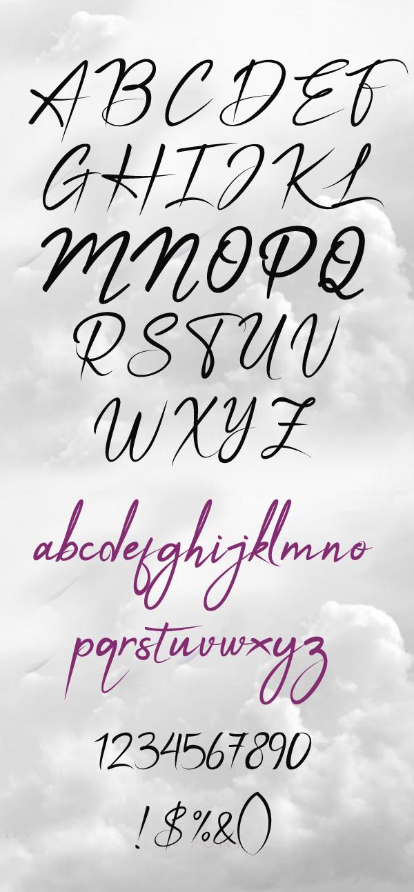 Apalu Brush Script font letters