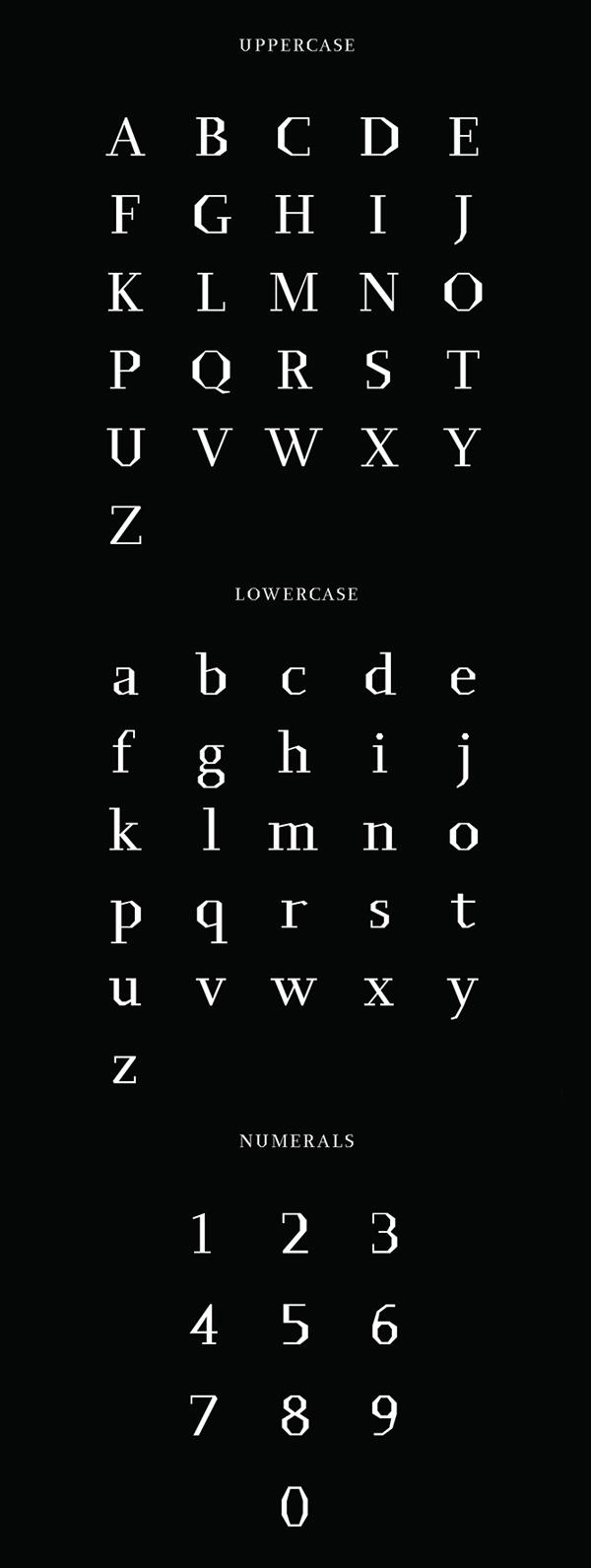 Bergamo font letters
