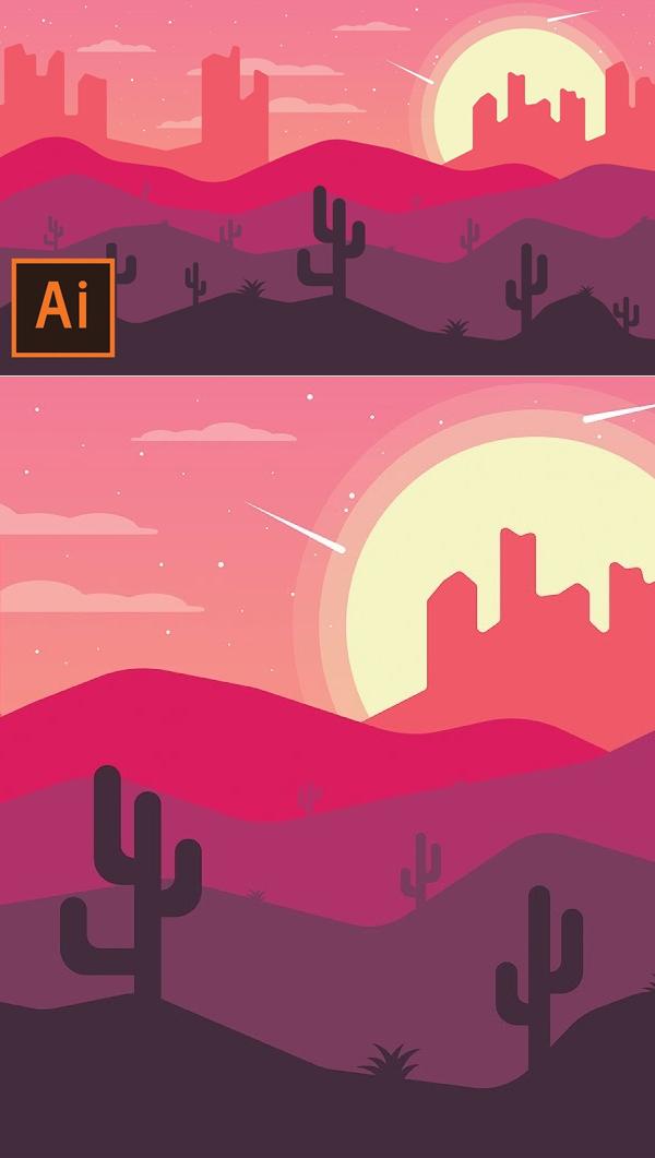 How to Draw Desert Landscape Flat Design In Illustrator Tutorial