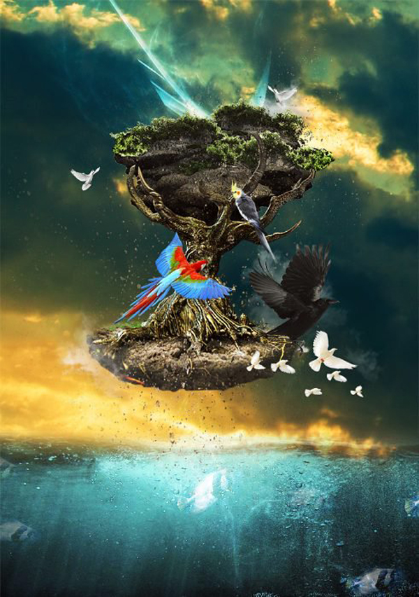 Create Surreal Floating Tree Above Ocean in Photoshop