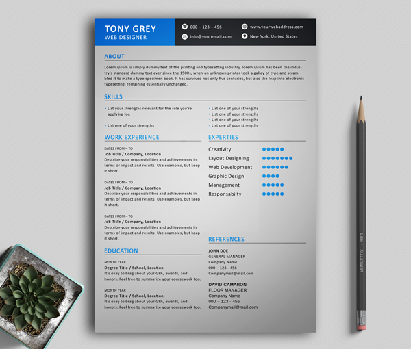 Freebie – Simple Resume Template with Cover Letter -