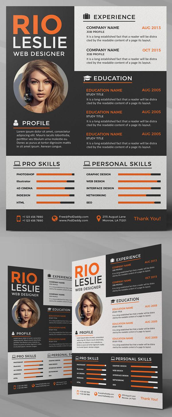 Freebie: Creative Resume CV PSD Template