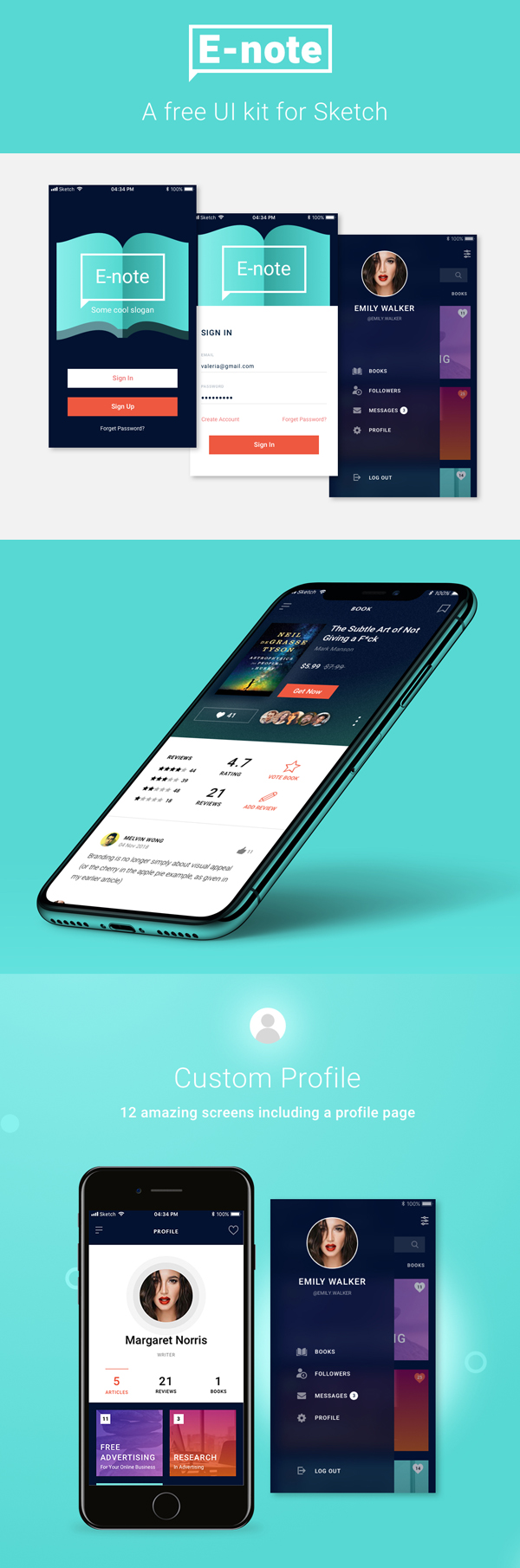 Freebie: E-note UI Kit