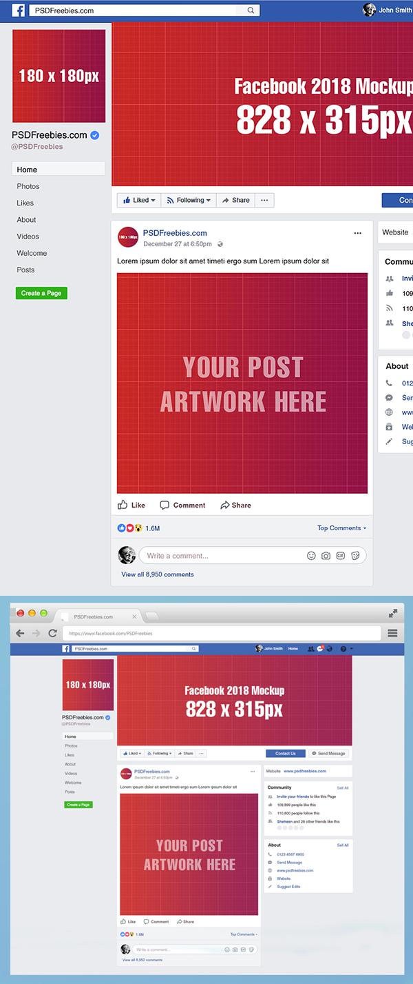 Freebie: Facebook Page Mockup 2018 Template PSD
