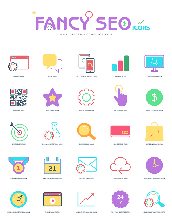 Freebie: Flat Fancy Seo Icons 2018