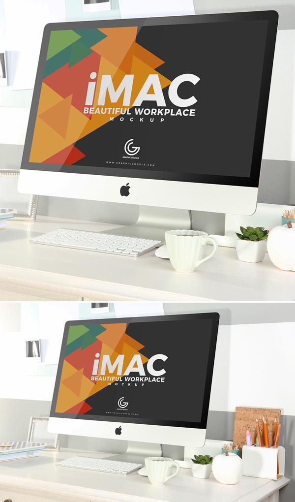 Freebie: Beautiful Workplace iMac Mockup 2018