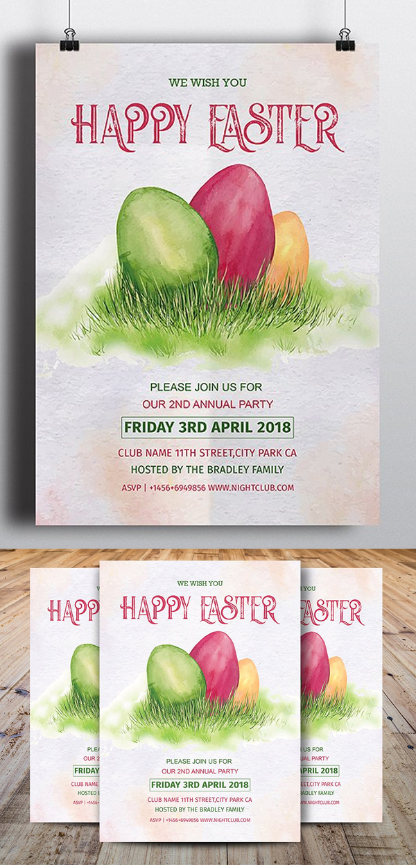 Vintage Happy Easter Party Flyer