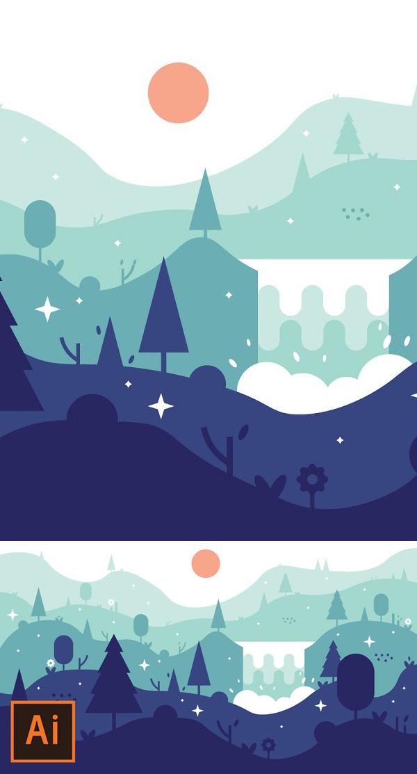 Illustrator Tutorial - Waterfall Landscape Flat Design (Illustrator Flat Design Tutorial)