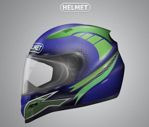 Draw Realistic Motorbike Helmet with Photoshop and Illustrator