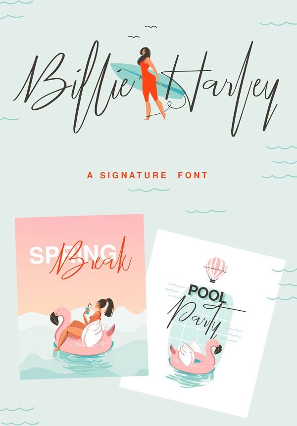 Billie Harley Signature  Free Script Font
