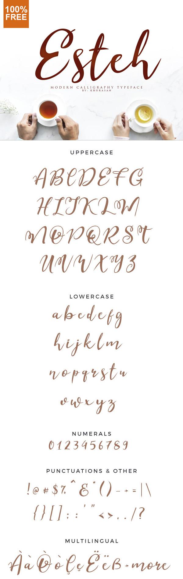 Esteh  Free Script Font