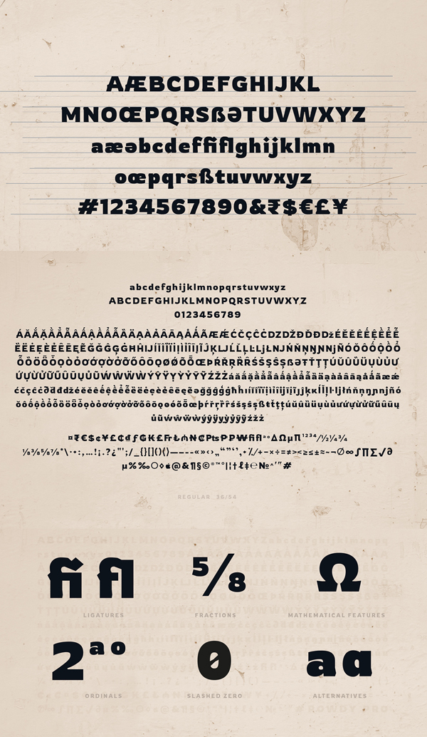 Rowdy Pro Free Font Letters and Numbers