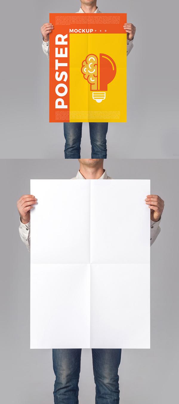 Man Holding Poster Mockup PSD Free
