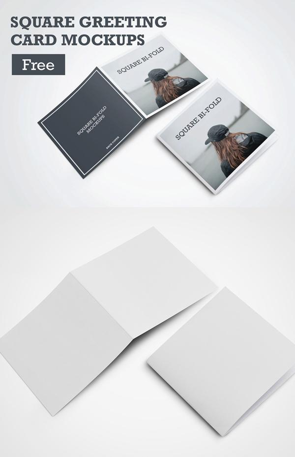 Free PSD Square Greeting Card Mockups