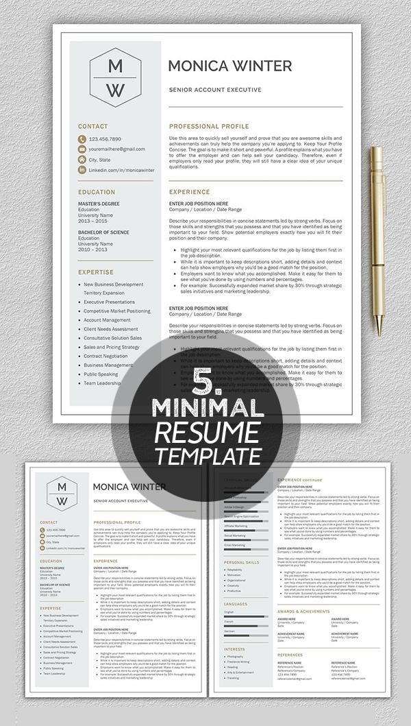 Monica Winter minimal resume template