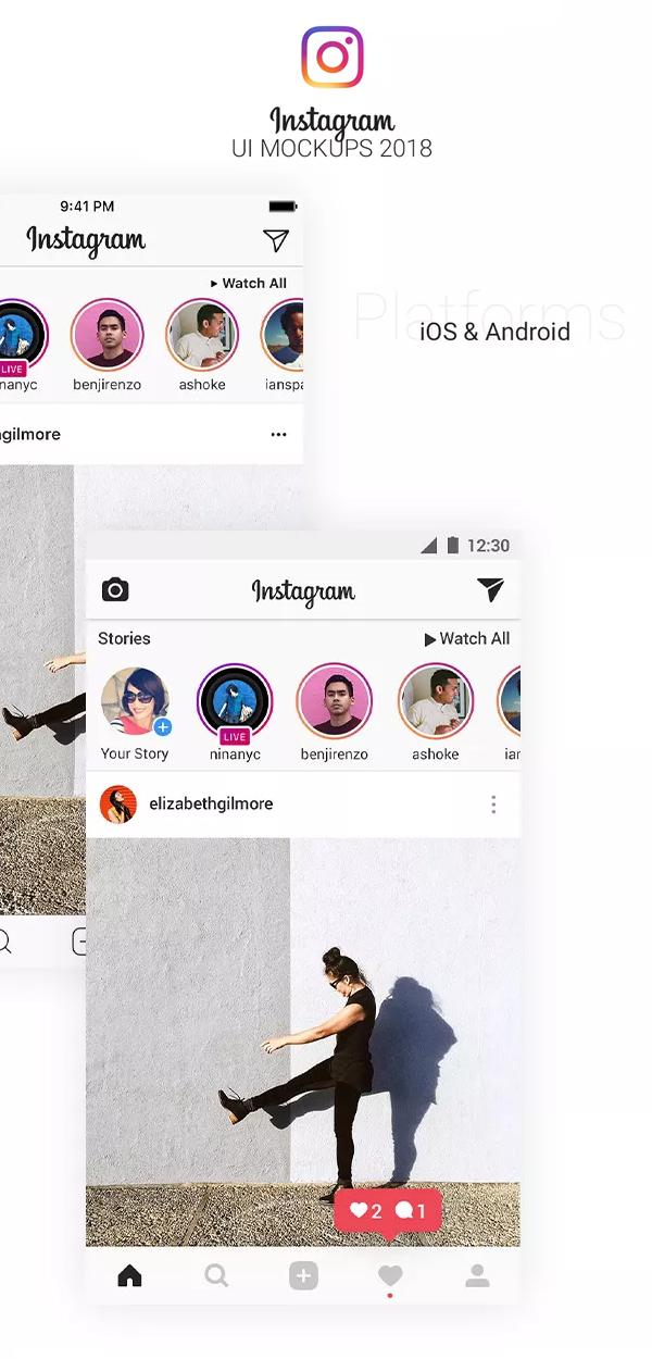 Instagram UI Mockups 2018