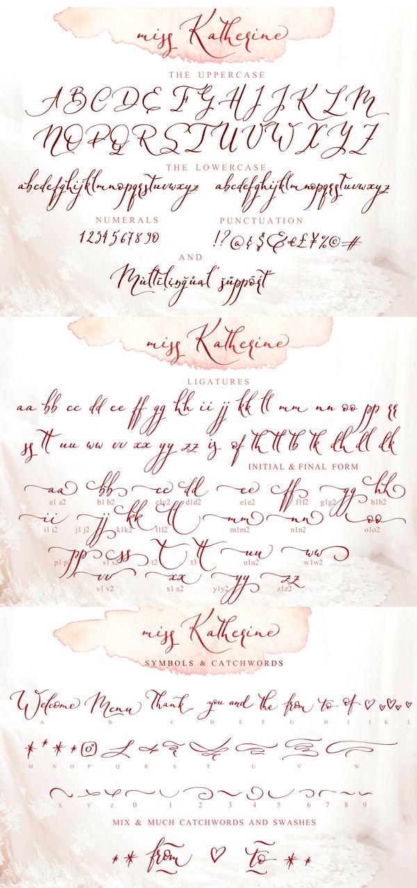 Miss Katherine Script Font Letters