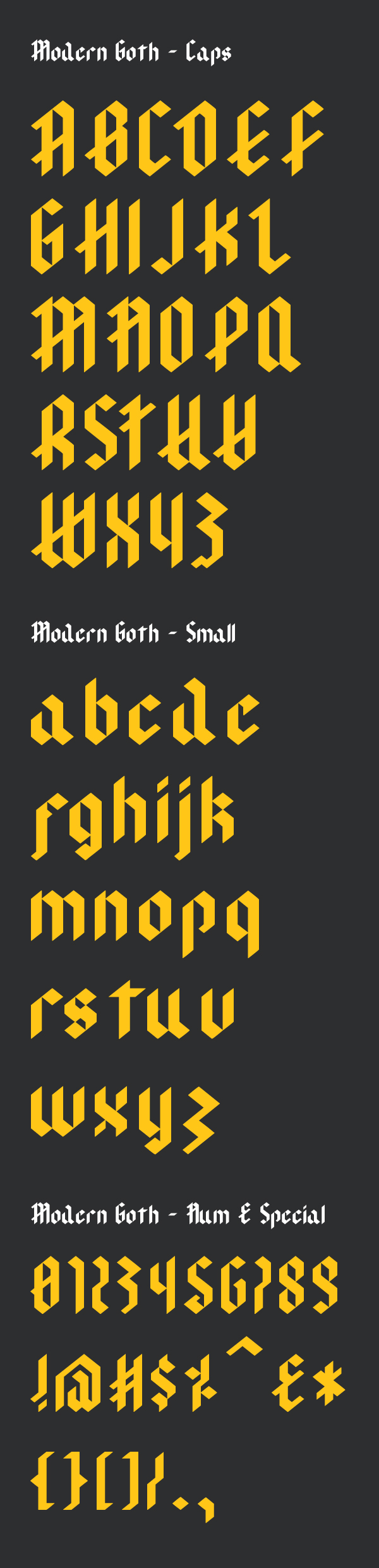 Modern Goth Font Letters