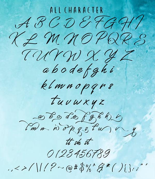 Grandhey Script Font Letters