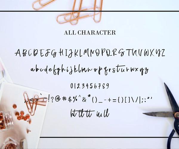 Naycila Script Font Letters