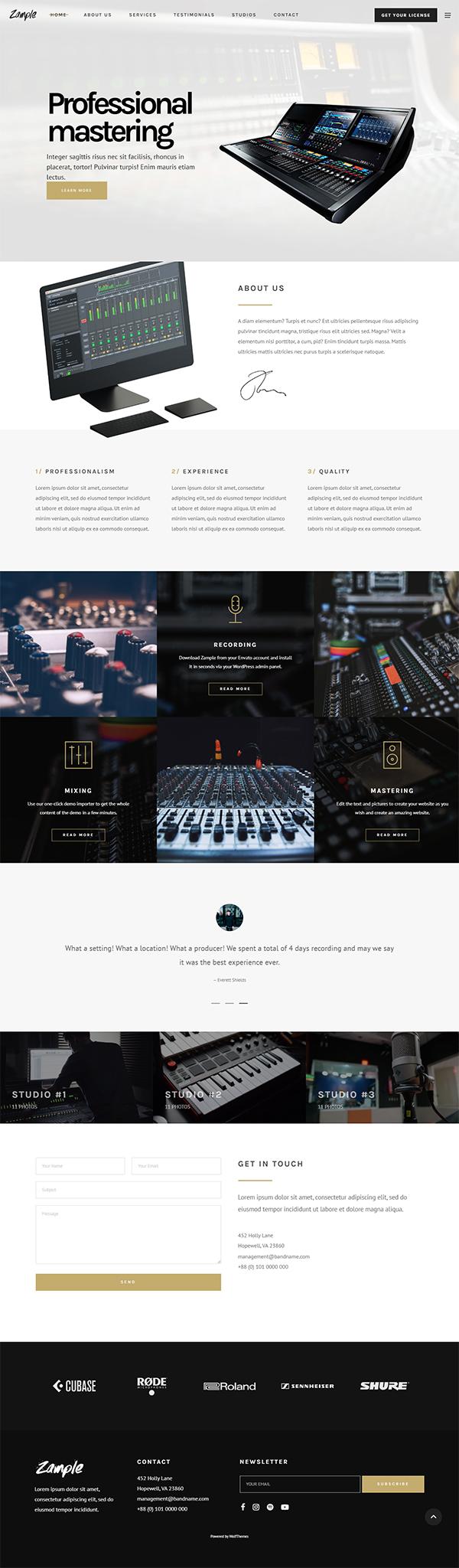 Zample - A Fresh One-Page Music WordPress Theme