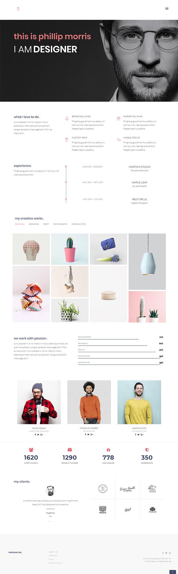 Heroine - Creative Minimal Portfolio WordPress Theme