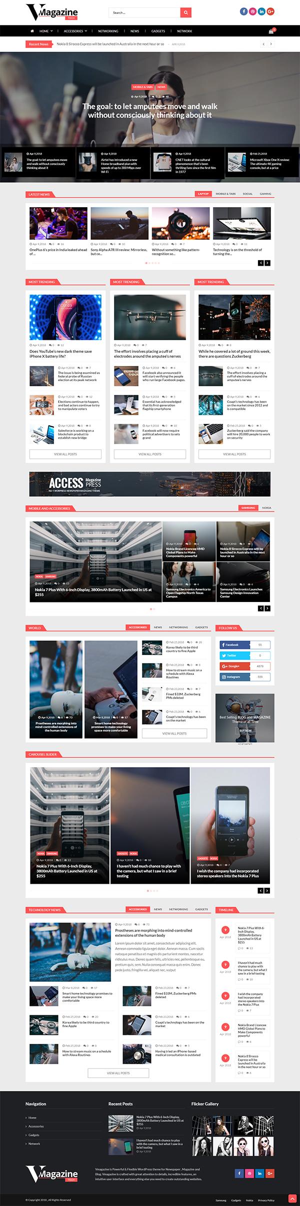 Vmagazine- Blog and Magazine WordPress Themes