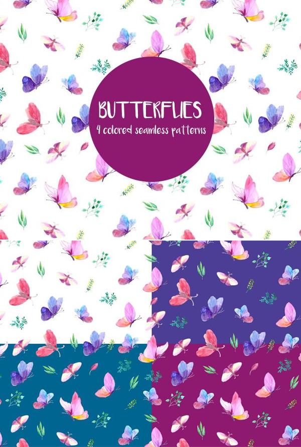Free Butterflies Watercolor Vector Pattern