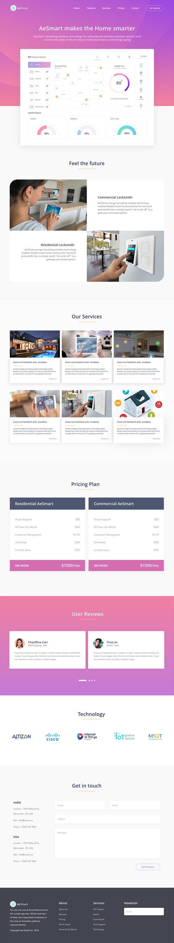 IOT Smart Home - Landing Page Free UI KIT