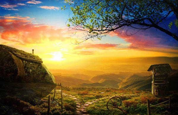 Create a Beautiful Sunrise Scene with an Old House