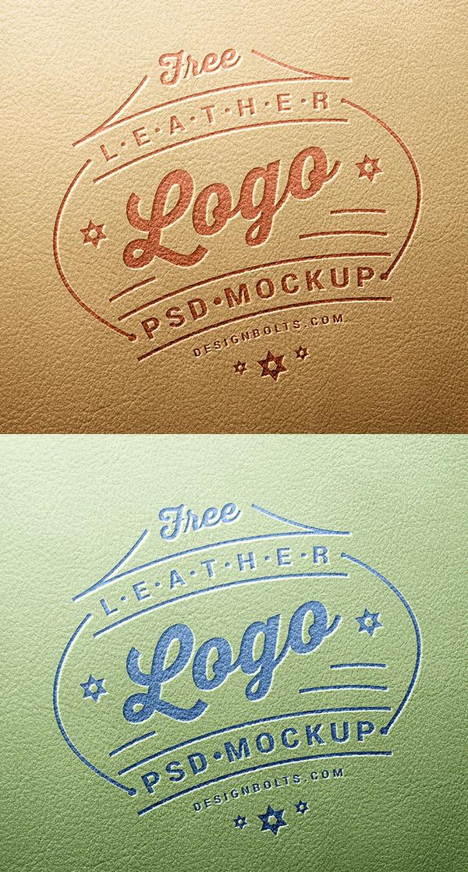 Free Leather Stamping Logo Mockup PSD