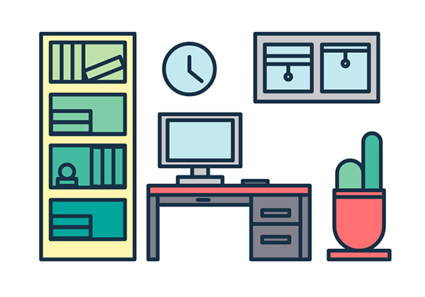 Create Trendy Line Icon Office Vector Scene in Adobe Illustrator Tutorial