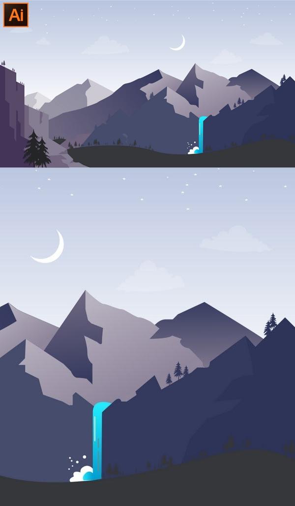 How to Make a Beautiful Landscape Background Design in Adobe Illustrator CC Tutorial