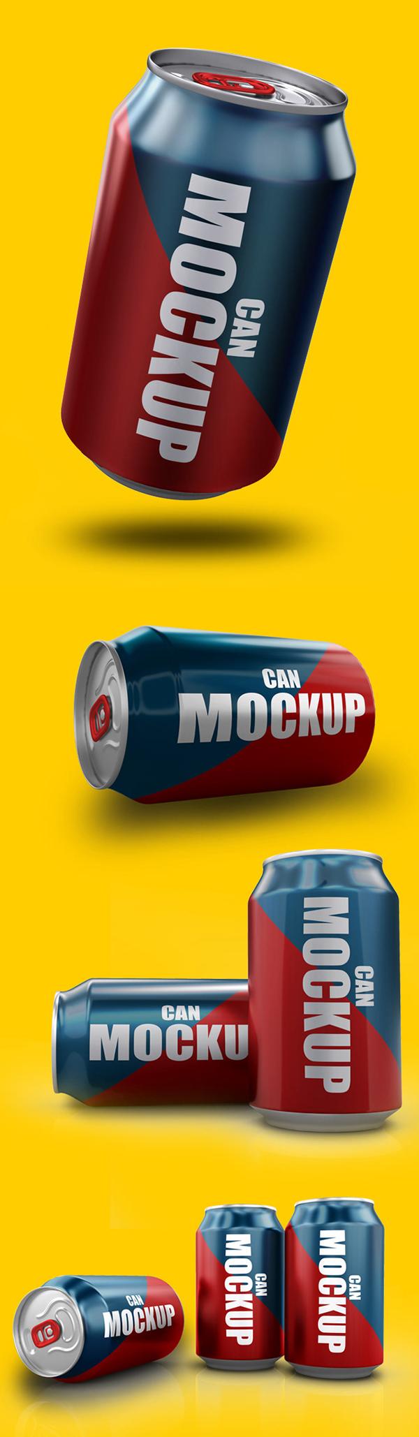Free Soda Can PSD Mockup (7 PSD Files)