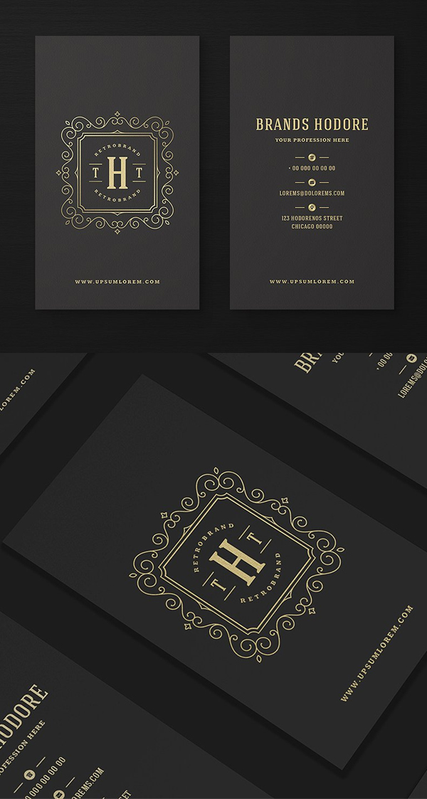Luxury Golden Flourishes Ornament Business Card and Logo Design