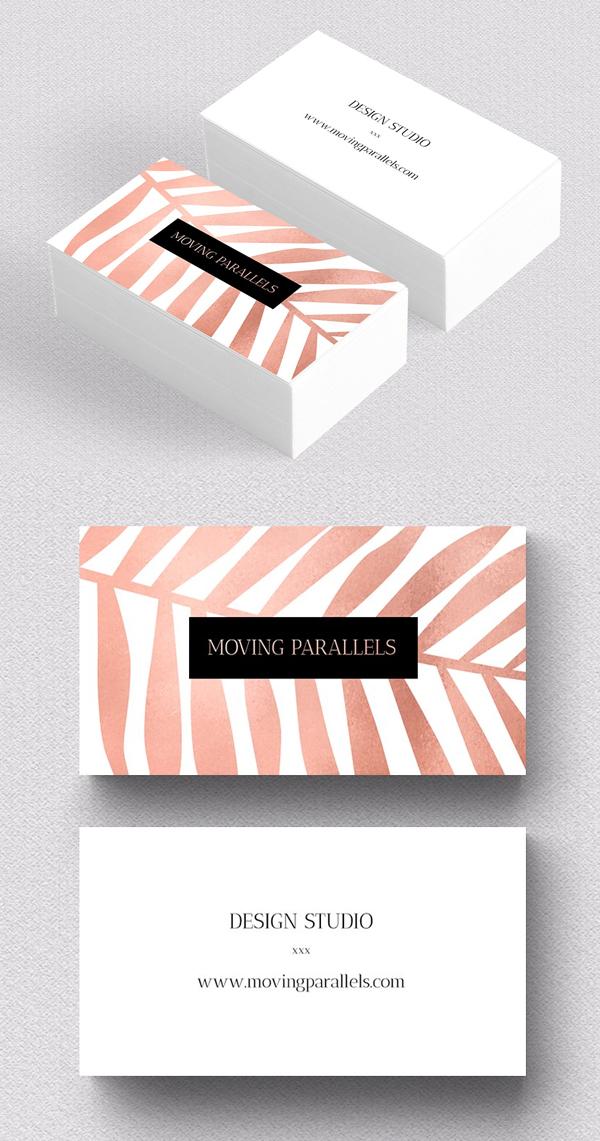 Rose Gold Palm Foil Business Card