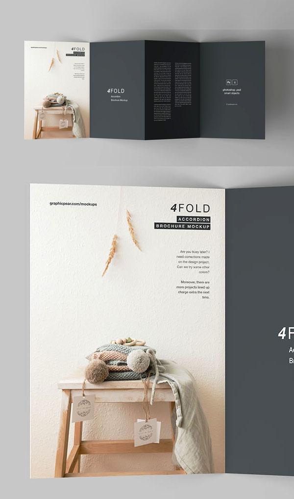 Free 4 Fold Brochure Mockup PSD