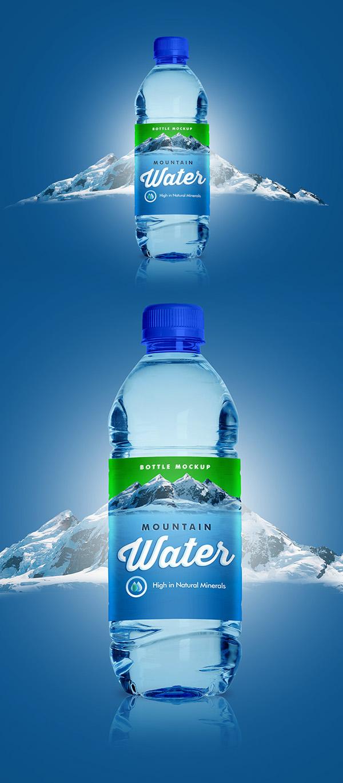 Free PET Water Bottle Mockup PSD