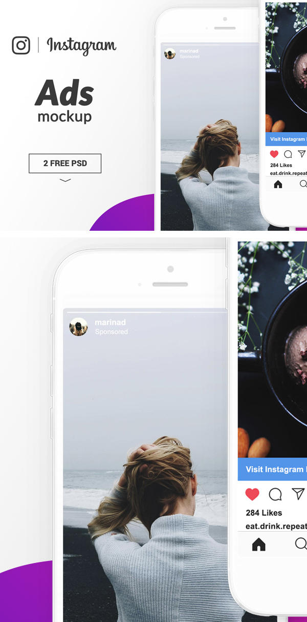 Free Instagram Ads Mockup PSD Template