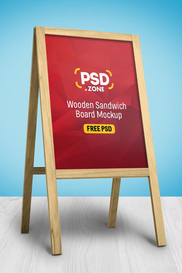 Free Wooden Sandwich Board Mockup PSD