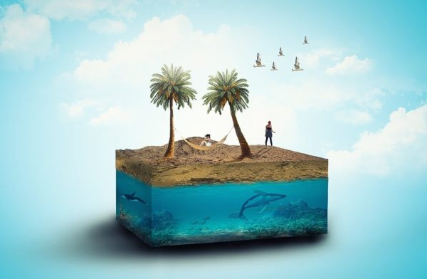 How to Create 3d Beach Photo Manipulation And 3d Effect in Photoshop Tutorial
