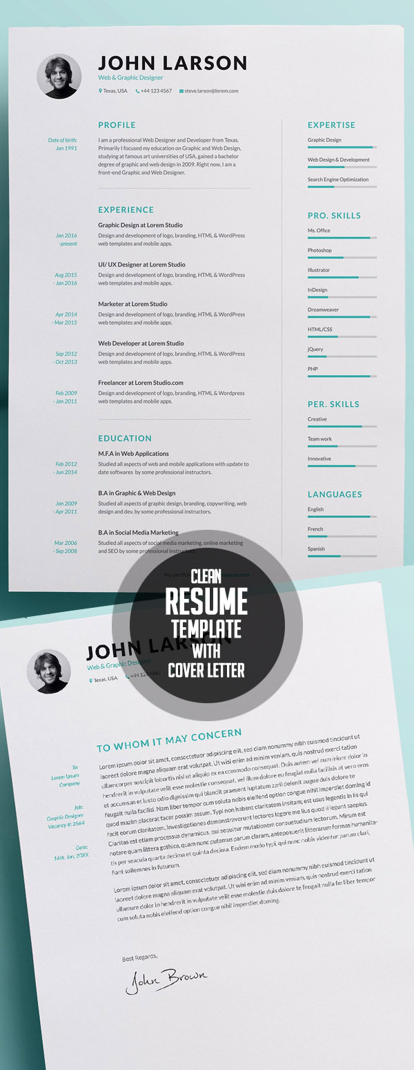 Clean Resume Template with Cover Letter
